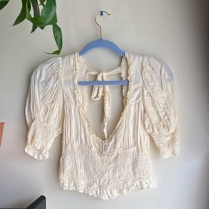 UO May Smocked Puff Sleeve Cropped Top